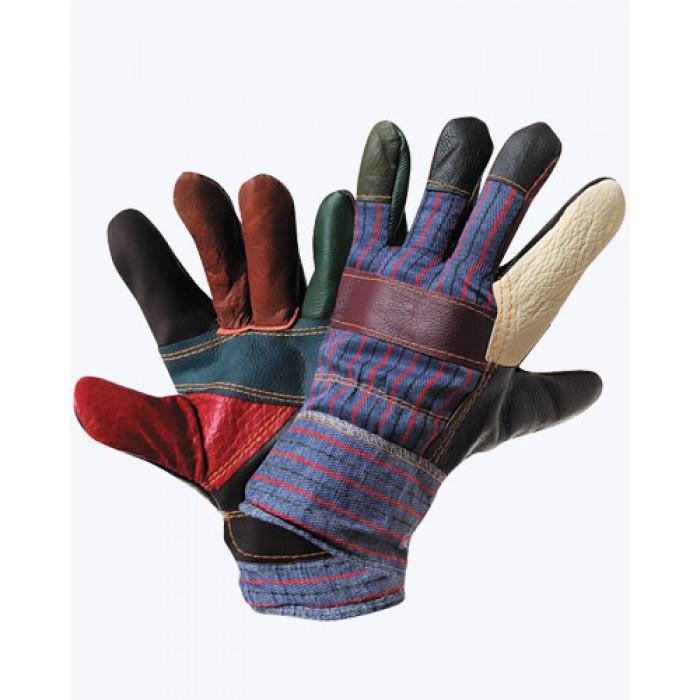 """Перчатки """"Радуга"""" кожаные комбинированные утепленные"""