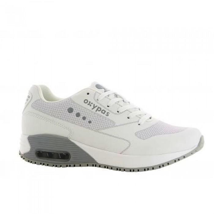 Туфли ELA, кожа, нитрил, бел/сер ( LGR), OXYPAS